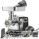 STX Turboforce II'Platinum' w/Foot Pedal Heavy Duty Electric Meat Grinder & Sausage Stuffer: 6 Grinding Plates, 3 S/S Blades, 3 Sausage Tubes, Kubbe, 2 Meat Claws, Burger-Slider Patty Maker - Black