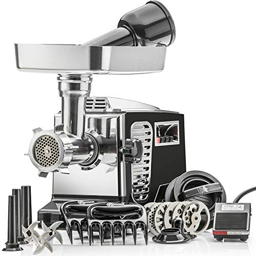 STX Turboforce IIPlatinum w/Foot Pedal Heavy Duty Electric Meat Grinder & Sausage Stuffer: 6 Grinding Plates, 3 S/S Blades, 3 Sausage Tubes, Kubbe, 2 Meat Claws, Burger-Slider Patty Maker - Black