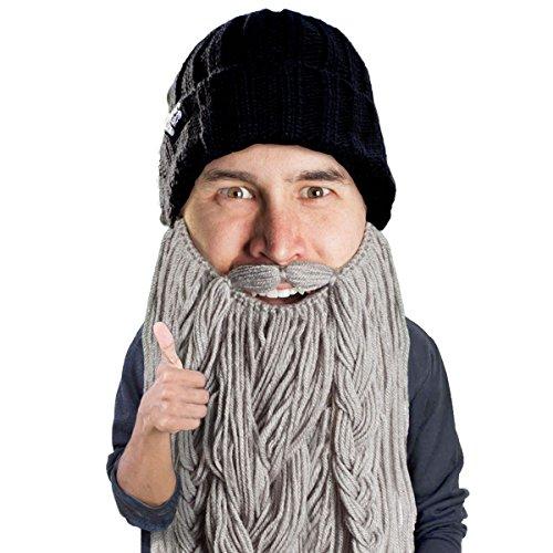 Beard Head Barbarian Roadie Beard Beanie -Funny Knit Hat and Fake Beard Facemask Grey]()