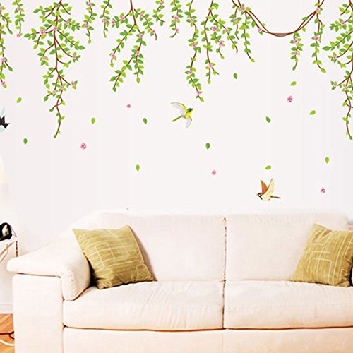 ufengke home Hanging Vines with Flying Birds & Falling Leaves Wall Art Stickers Simple Decorative Removable DIY Vinyl Wall Decals Living Room, Bedroom Mural ()