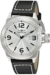 "Invicta Men's 1110 ""Corduba Collection"" Stainless Steel and Black Leather Watch"