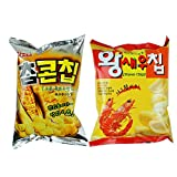 ROM AMERICA Korean Popular Assorted Mixed Snack 2 Packs - Corn Chip Shrimp Chip Snack - 62g 과자