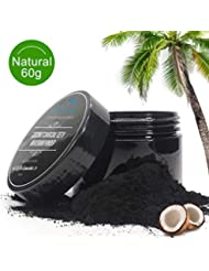 Natural Activated Charcoal Teeth Whitening Powder-100% Organic Coconut Tooth Whitener Powder Effective in Stains, Tartar, Yellow Teeth and Bad Breath-Strengthen Teeth Enamel (60g)