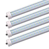 JESLED 8FT LED Light Tubes - 50W 5000K 6000 Lumens, Single Pin Fa8 Base, T8 T10 T12 LED Fluorescent Bulbs Replacement, 100-130W Equivalent, V Shape, Clear, Dual-Ended Power, Ballast Bypass (4-Pack)