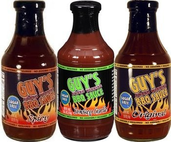 (Guy's Award Winning Sugar Free BBQ Sauce 18oz Glass Bottle (Pack of 3) Select Flavor Below (Best Seller Sampler Pack with 1 each of: Original Smokey Garlic & Spicy) by Guy's BBQ)