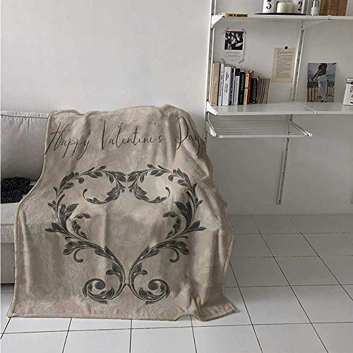 maisi Taupe Digital Printing Blanket Happy Love Valentines Day Stylized Hand Writing Laurel Leaves Forming Heart Victorian Summer Quilt Comforter 62x60 Inch Taupe Tan