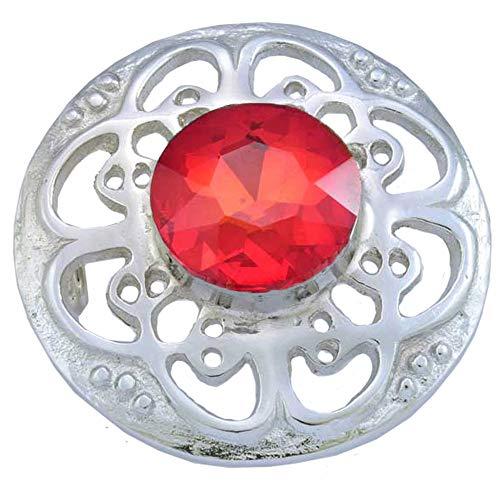 AAR Culloden Fly Plaid Brooch Kilt Brooch Celtic Design 3 Color Stones Chrome Finish (Red Stone) (3 Stone Brooch)