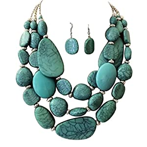 S.Uniklook Collection Statement Layered Strands Turquoise Stone-simulated Chunky Beads Necklace Earrings Set Gift Bijoux …
