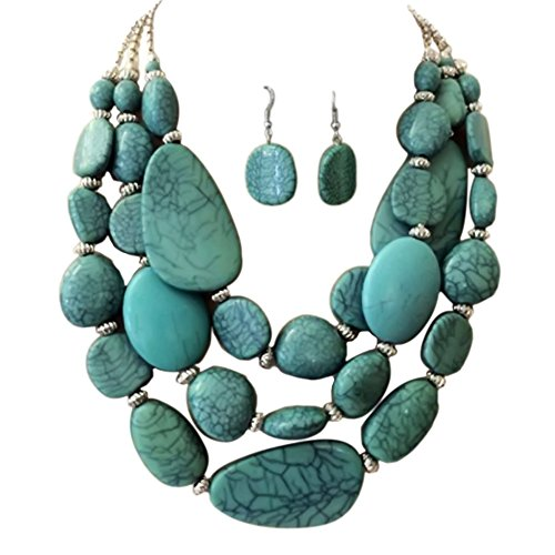 Statement Layered Strands Turquoise Stone-simulated Chunky Beads Necklace Earrings Set Gift Bijoux (Strand Multi Stone Necklace)