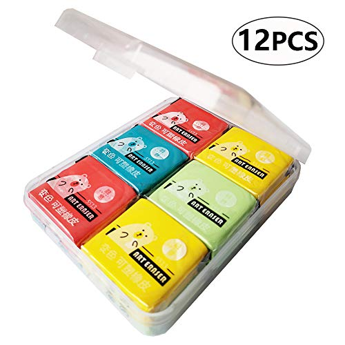 Erasers,Kneaded Rubber Eraser,Reusable and Non-Drying,12 Pack Large Size,Multiple Colour ()