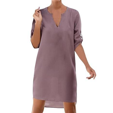 Vestido de mujer, Ba Zha Hei de Vestido irregular de playa con dobladillo irregular con bolsillo ...