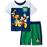 Disney Toddler Boys' 2 Piece Mickey Mouse T-Shirt and Space Dye Short Set, White, 3t