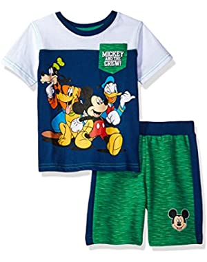 Disney Boys' 2 Piece Mickey Mouse T-Shirt and Space Dye Short Set