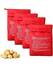 4PCS Red Microwave Potato Bags Reusable Baked Bag Potato Microwave Baking Pouches for Potato Express Pouch Cooking in Just 4 Minutes