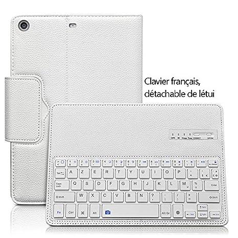 Seluxion - Etui de Protection Blanc avec Clavier Azerty Connexion Bluetooth  Pour Tablette Apple iPad Mini 4  Modèles Apple iPad Mini 4   Mini 3   Mini  2. a24ada9105c