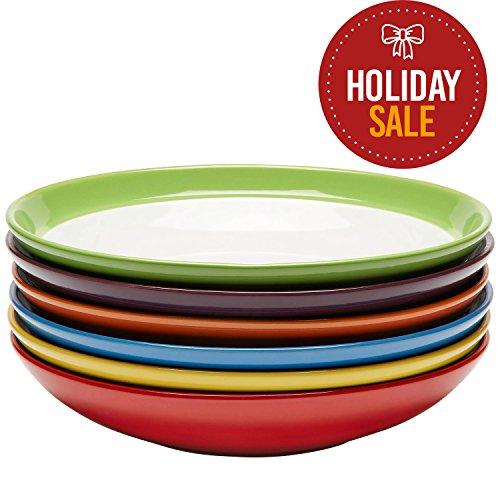 6 Pasta - Premium Ceramic Set of 6, Colorful Meal Stoneware (6, Pasta Bowls)