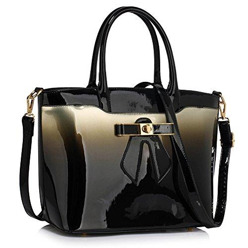 Trend Star Mujer grandes bolsillos Bolsos Mujer Hombro konstrukteur piel sintética Z - Silber