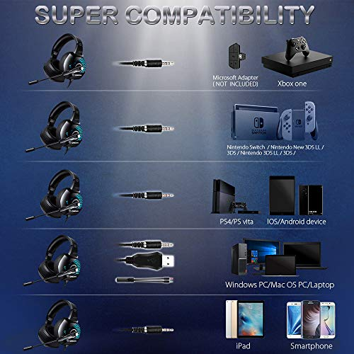 ONIKUMA II Stereo Gaming Headset for PS4, Xbox One, PC, Nintendo Switch,  Noise Cancelling Over Ear Headphones with Microphone, Soft Earmuffs,  Surround