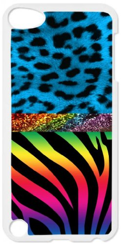 Neon Leopard and Rainbow Zebra Print Pattern-White plastic snap on case - for the Apple iPod iTouch 4th (Touch Rainbow Zebra)