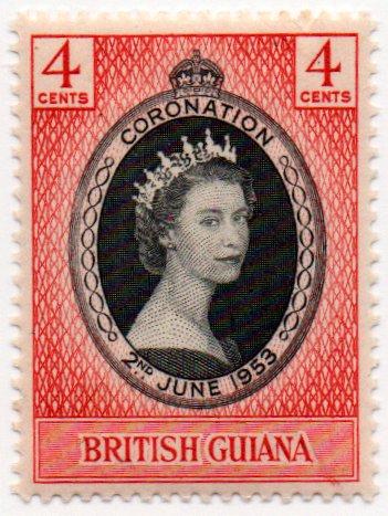 British Guiana Postage Stamp Single 1953 Queen Elizabeth II Coronation Issue 4 Cent Scott #252