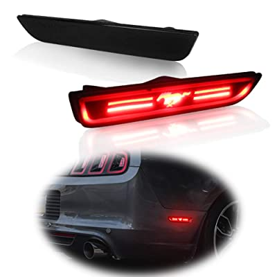 TurningMax Smoke Lens 48-SMD Red Rear Side Maker LED Lights For 2010-2014 Ford Mustang: Automotive