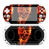 CSBC Skins Sony PS Vita 2000 Design Foils Faceplate Set - Burning Skull Design