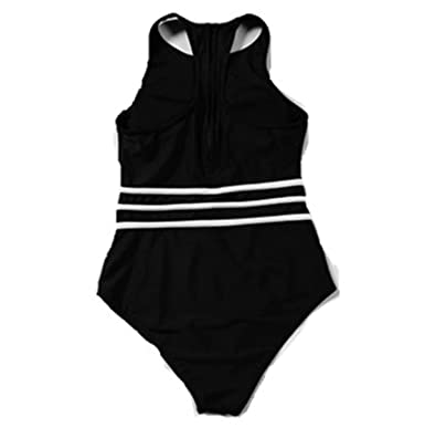 7f828f76df Amazon.com: DarkCom Women One Piece High Waist Sporty Padding Swimsuit Mesh  See-Through Keyhole Bathing Suit: Clothing