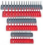 Hansen 6pc 1/4 3/8 1/2'' SAE Metric Sockets Trays Holders Set USA Tool Organizer