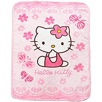 HOLY HOME Pink Flowers and Butterfly Flannel Fleece Throw Blanket,60