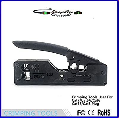 Black Handle Cat7/10Gig Heavy Duty Modular Plug Crimp Tool Ethernet Crimpers for RJ45 Connector, RJ12/RJ11 Connectors with Cat6e, Cat6a, Cat7, or Over-Sized Cat5e/6. HD Crimping Tool - ShopRu Connect