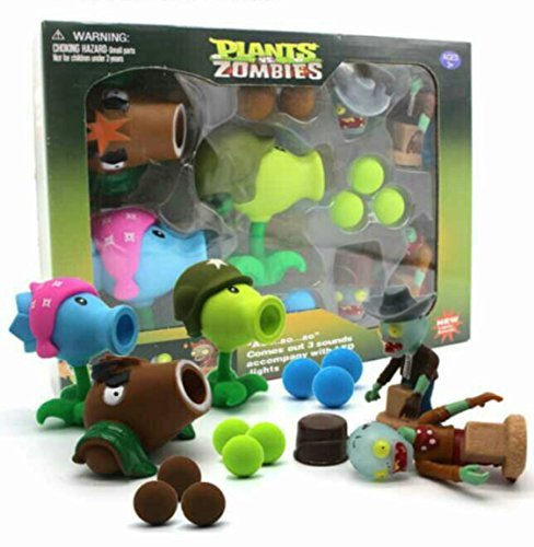 (Plants vs Zombies Toys Package Set with Lights and Sounds - 3 Plants, 2 Zombies 9 Foam Balls (Option 1))