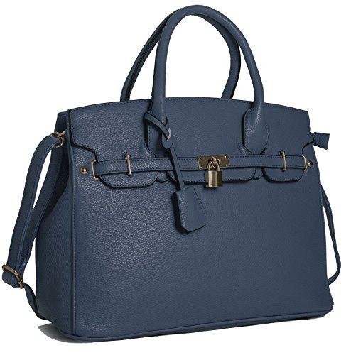 Big Handbag Shop Womens Faux Leather Designer Inspired Tote Shoulder Bag - Shop Designer