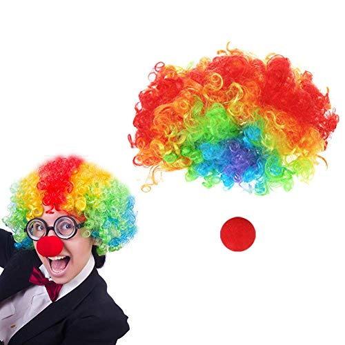 LoveInUSA 2 Set Clown Wig with Foam Clown Nose for April Fools Day Jokes Birthday Party ()