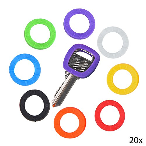 20 Pack of Key Identifier Rings - Plastic Key Cap Sleeve Rings in 8 Different Colors - Choose Your Own Color Coding System to Tag Your Keys - Perfect to Identify Your Keys Immediately