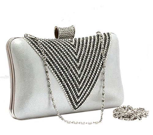 Rhinestone Evening Silver Women V Glossy Inlaid Clutch Shape Bag Purse qa85tz