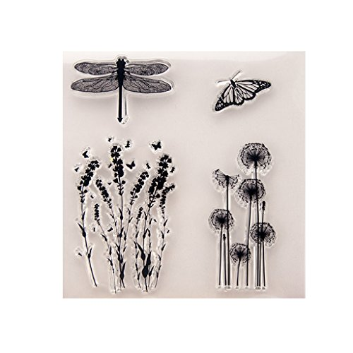 ❤JaneMo New Arriving Clear Stamps Dandelion Dragonfly Butterfly Transparent Silicone Clear Rubber Stamp Cling Diary Scrapbooking DIY Art Craft Decoration