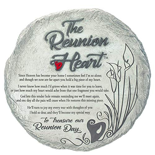 Dicksons Reunion Heart Garden Stone Natural Grey 10 x 10 Resin Stone Wall Plaque ()