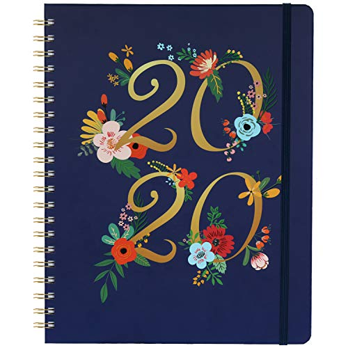 """Planner 2020 - Weekly & Monthly Planner with Tabs, January 2020 - December 2020, 9.30"""" x 11.25"""", Floral Cover with Twin-Wire Binding, Banded + Inner Pocket + Thick Paper"""