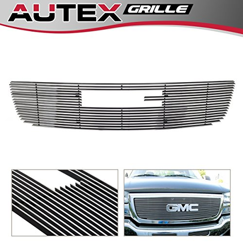 Gmc Classic Billet Grille - AUTEX Polished Horizontal Billet Main Upper Grille Grill G65771A Compatible With GMC Sierra 1500/1500HD/2500HD/3500 2003-2006