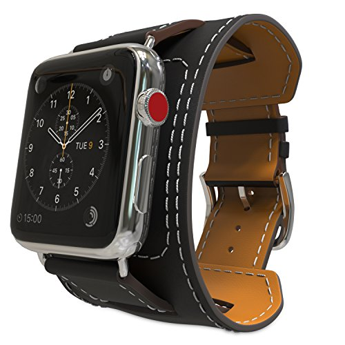 MoKo Compatible Band Replacement for Apple Watch 38mm 40mm Series 4/3 / 2/1, Genuine Leather Smart Watch Band Cuff Strap - Black (Not Fit 42mm 44mm Versions) ()