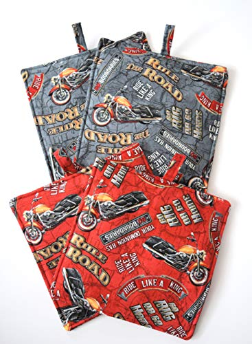 (Motorcycle Hot Pads,Heavy Duty,Thick Pot Holders,Your Choice of Grey or Red,Fat Boy Cycle,Rule The Road,Ride Like A King,No Boundaries)