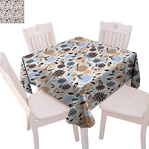 Earth Tones Printed Tablecloth Flourishing Hydrangea Flowers in Abstract Style Skinny Stems with Leaves Flannel Tablecloth 36