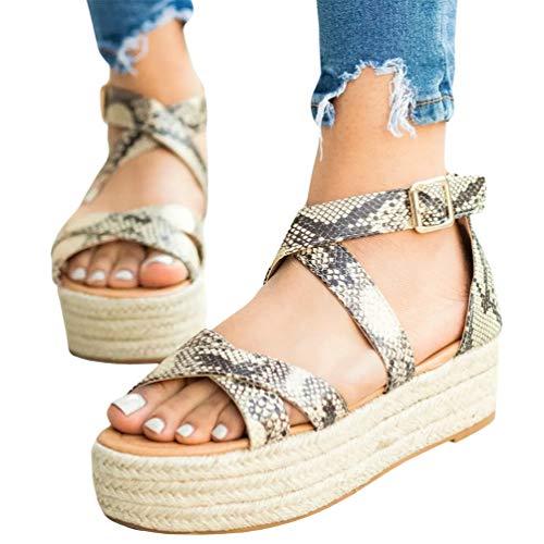 (Ermonn Womens Espadrille Platform Sandals Strappy Open Toe Ankle Strap Summer Sandals (11 M US, Snakeskin))