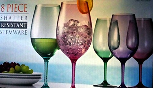 8 Piece Shatter Resistant Wine Stemware 23 Oz Color Tritan Glasses Indoors and Outdoors - Acrylic Stemware