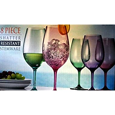 8 Piece Shatter Resistant Wine Stemware 23 Oz Color Tritan Glasses Indoors and Outdoors