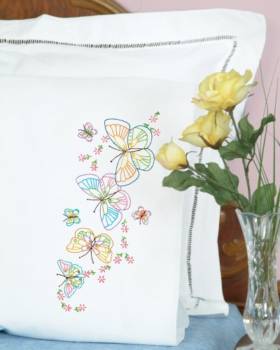 Jack Dempsey Needle Art 1600143 Perle Edge Pillowcase, Fluttering Butterflies with Perle Edge Finish, 20-Inch by 30-Inch, White