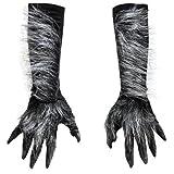 Zagone Killer Wolf Gloves, Grey Fingers Faux Fur Black Glove