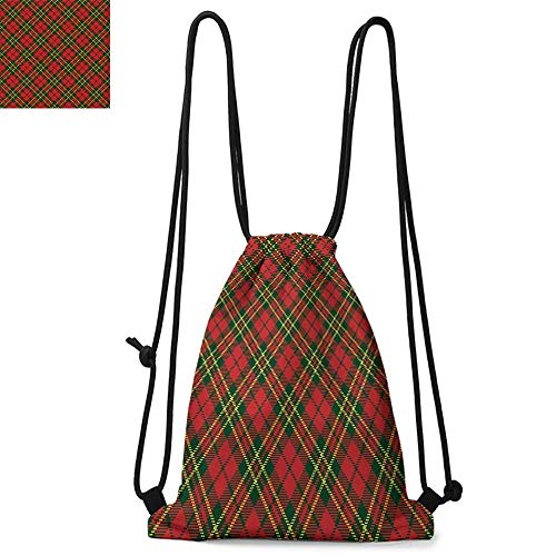 Checkered Made of polyester fabric Irish Tartan Plaid Motifs in Christmas Colors Geometrical Crossed Stripes Waterproof drawstring backpack W17.3 x L13.4 Inch Red Emerald Yellow