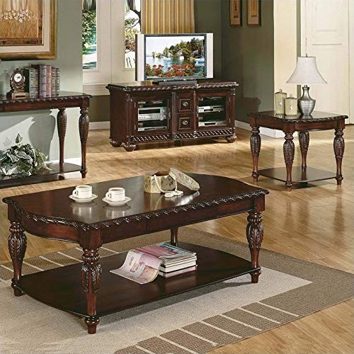 Steve Silver Company Antoinette 3 Piece Coffee Table Set in Mahogany Cherry by Steve Silver