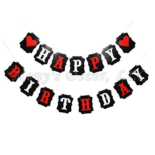 Mony's Decor HAPPY BIRTHDAY HEART BANNER IN RED BLACK AND (Red Black And White Birthday Decorations)